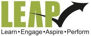 LEAP logo - Learn Engage Aspire Perform